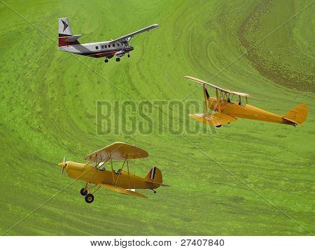 Three Vintage Airplanes
