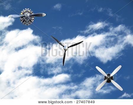 Three Different Airplane Props On Sky Background