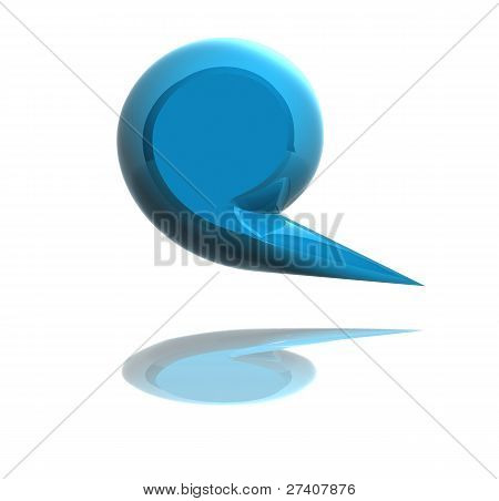 3D Blue Social Media Bubble Isolated