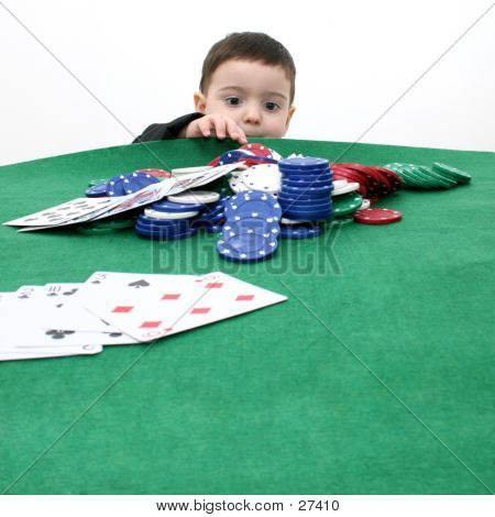 Toddler Boy In Suit Playing Poker