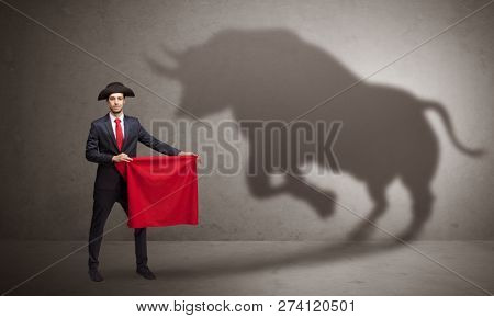 Businessman standing with red cloth