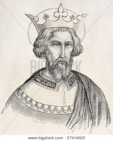 Charlemagne old engraved portrait. Created by Gagniet after painting kept in Vatican, published on L'Illustration, Journal Universel, Paris, 1858