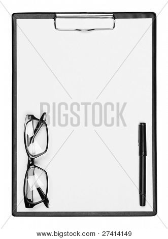 Blank clipboard with pen and eyeglasses, isolated on white background