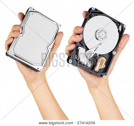 hard disk in hand, isolated on white background