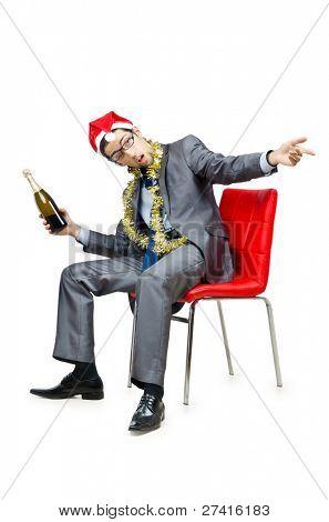 圣诞晚会之后醉酒的办公室工作者