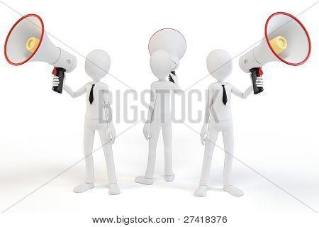 3D Man Businessman With Megaphone Speaking Loud