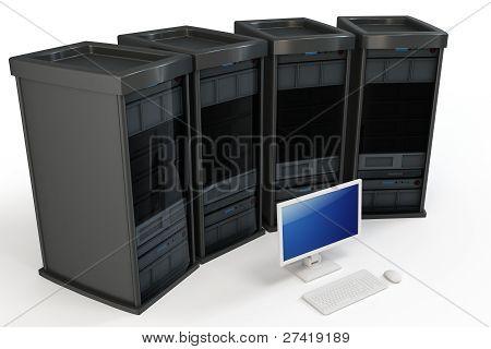 3D servidores con Terminal de ordenador