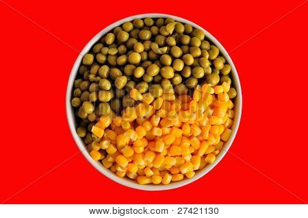 Corn And Peas On Red