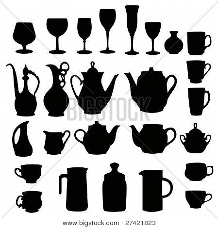 many different tableware silhouette vector