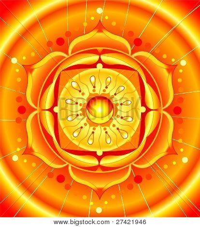helder oranje mandala van svadhisthana chakra vector