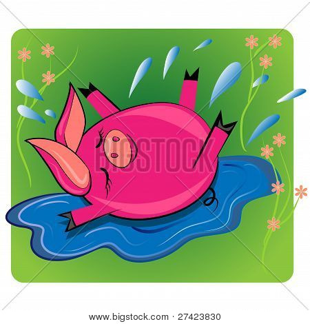 pig swimmin in puddle.cartoon animal vector drawing