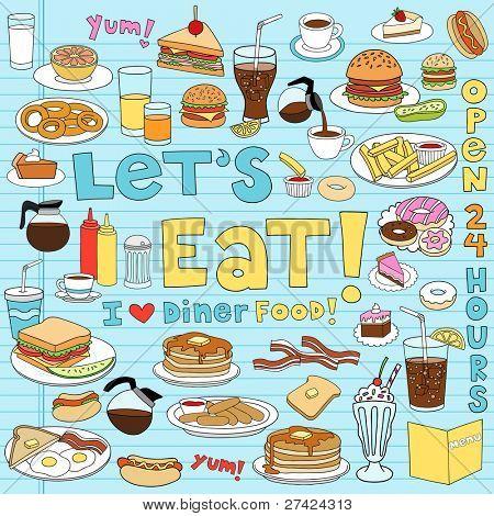 Abendessen essen lecker handgezeichnete Fastfood Notebook Gekritzel Designelemente festgelegt auf Skizzenbuch Liniertes Papier