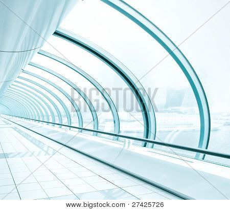blue glass transparent hallway