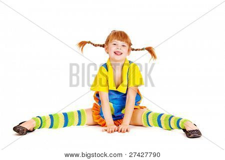 Red haired girl with funny braids