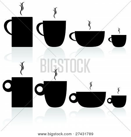 Set Of Coffee And Tea Cup Black Silhouette
