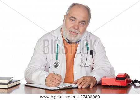 Family doctor in the oficce isolated on white background