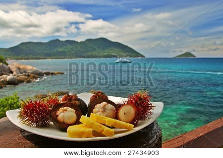 Plateful of exotic fruits against seaside