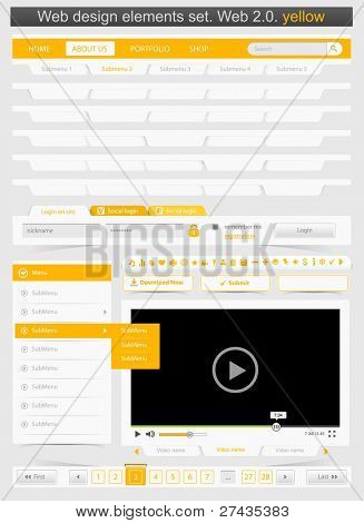 Web design template set 2.0. Vector illustration