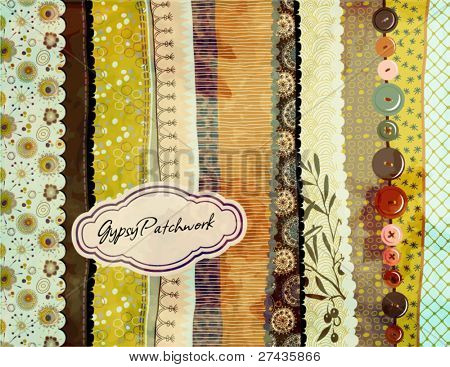 Gypsy Patchwork, hand-painted background with colorful patterned fabric/paper swatches, various borders and trims, sewing buttons and label