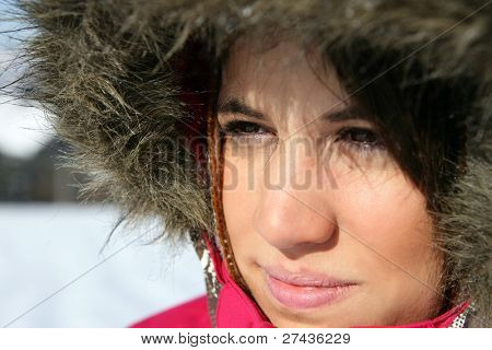 Woman wearing a parka