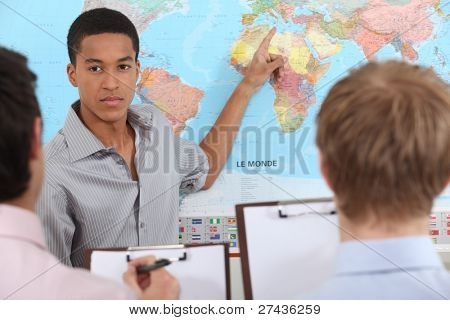 Young man giving a business presentation