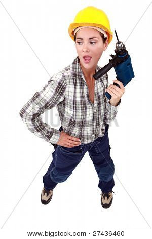 Handywoman with drill