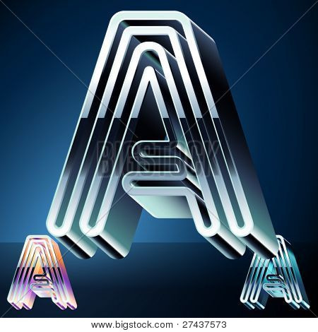 Three-dimensional ultra-modern alphabet from chrome or metal letters. Character a