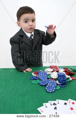 Toddler Boy In Suit Playing Poker