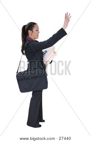 Woman In Business Attire Woman Hailing A Cab Or Friend