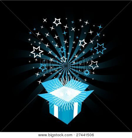 Vector illustration of exploding gift box