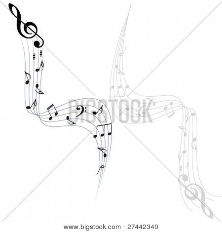 Music notes vector background