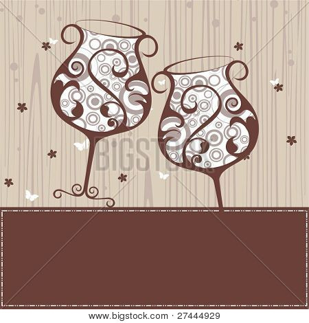 beautiful floral wine glass in brown color on brown border greeting cardfor New Year & other occasions.