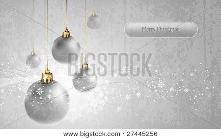 Silver Greeting Card with Christmas Globes | EPS10 Vector Background | Layers Organized and Named
