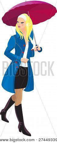 Hermosa chica rubia con paraguas