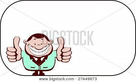 Successful vector businessman showing thumbs up. Separate layers