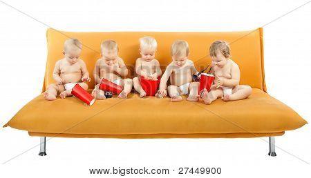 Children Group watch Cinema eating Popcorn, Kids on White