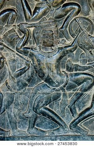 Bas Relief Kaurava fighter, Angkor Wat