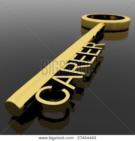 Career Text On A Gold Key With Black Background As Symbol Of New Job