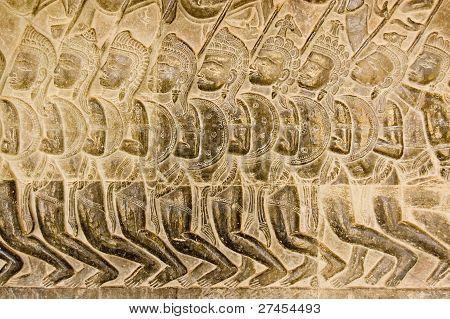 Pandava Army bas relief Angkor Wat