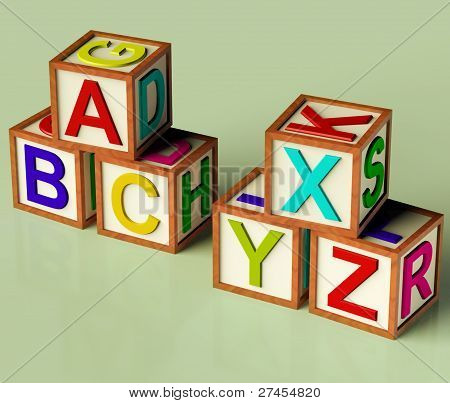Kids Blocks With Abc And Xyx As Symbol For Education And Learning