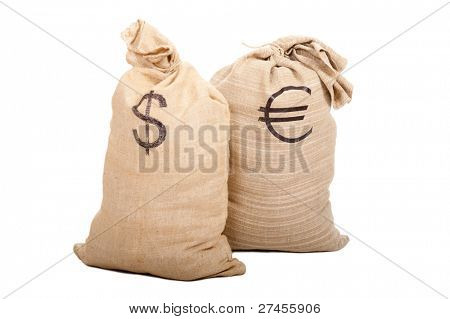 Two sacks full of cash. American dollars and Euro. Isolated on white background