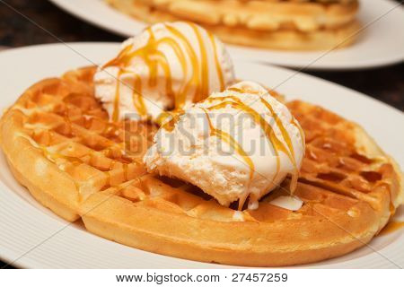 Belgian Waffles With Ice-cream And Syrup
