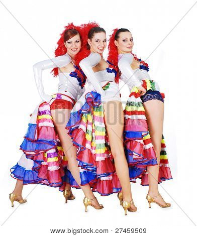 Three women dancing the cancan