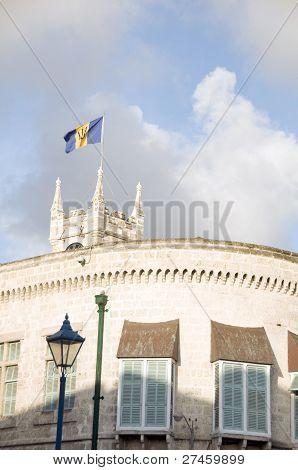 Parliament Building Gothic Architecture Flag Bridgetown Barbados