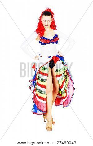 Happy woman dancing cancan