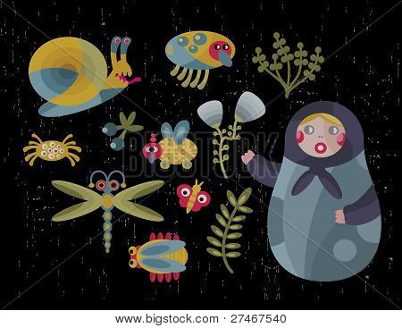 Matreshka doll and insects.