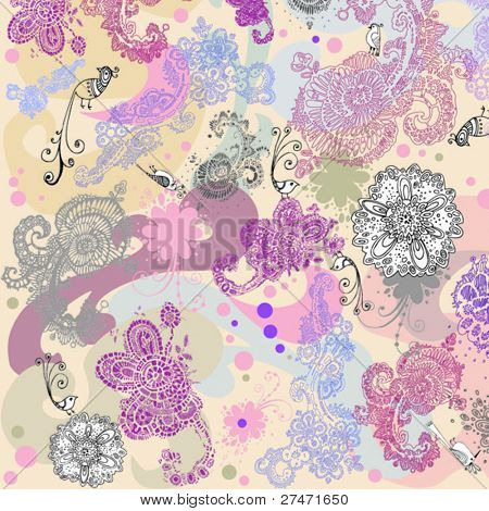 floral seamless pattern. birds and flowers
