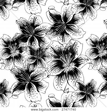 seamless pattern with black and white lily