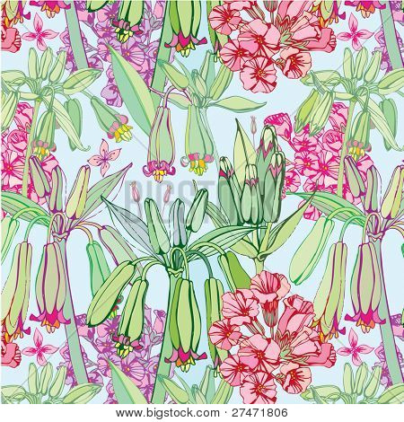 seamless pattern with pink flowers