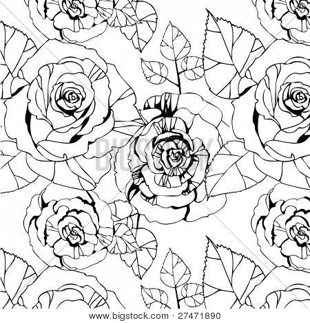 seamless pattern with black and white roses